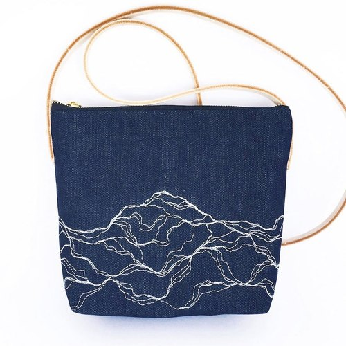 Small crossbody bag with white marble embroidery, denim fabric crossbody bag, vegetable tanned leather strap