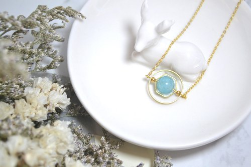 Geometry planet Aquamarine crystal stone necklace 【softboil_egg】