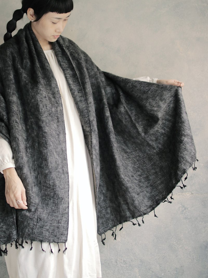 OMAKE Select Mixed Woven Scarf_Gray x Black