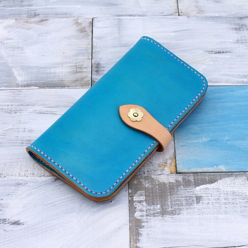 [Cut line] pure hand two twists and turns photo clip separate long section ladies wallet 012 Tiffany blue