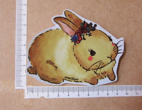 Hand painted illustrator style full waterproof sticker shuttle in garden little brown rabbit