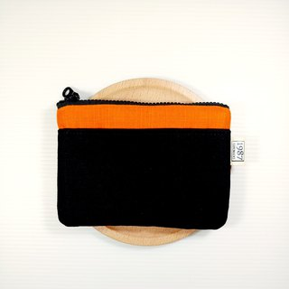 [Collision color series - orange and black] Coin purse clutch bag with zipper bag Christmas exchange gift