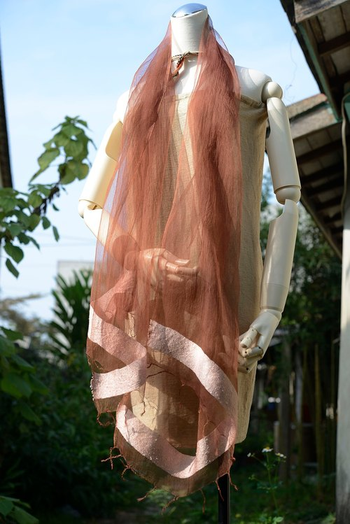 Vegetable dyes madder silk towel
