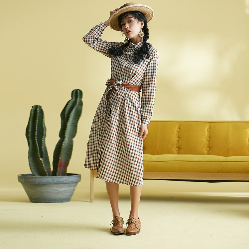 50cfb65dd9599 Annie Chen 2018 Spring and Autumn New Women's Clothing hit color belt shirt  style dress dress