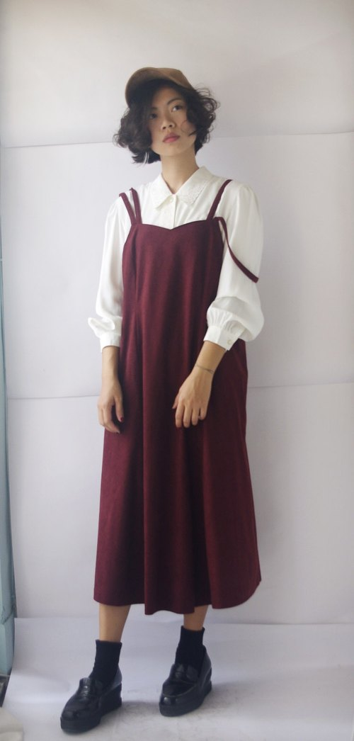 4.5studio- vintage treasure hunt - burgundy suede sling dress