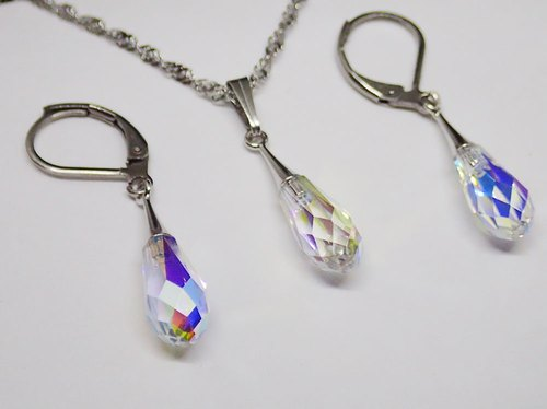 [ Lightup workshop ] earrings + necklace, with Stainless Stee and SWAROVSKI ELEMENTS  [ #LTU-SW-170315 ]
