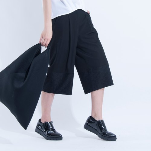 Aine ann / lace splice discount wide pants - black