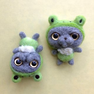 奀 仔 series wool cat frog brooch
