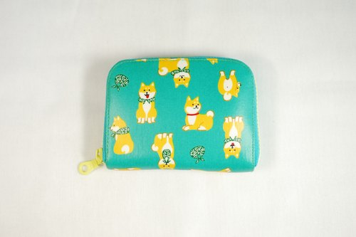 Play cloth hand made. Japan Shiba Inu (Lake Green) tarpaulin short wallet wallet purse