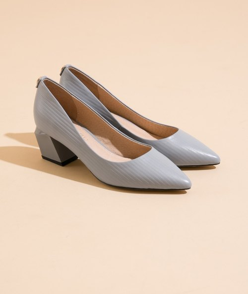 【Fashion stand】 full leather geometric shape heel shoes _ embossed gray