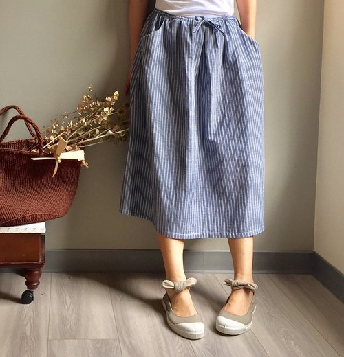 [Hill] - no print gray gray striped striped skirt long skirt 100% double cotton yarn (double yarn) # last one