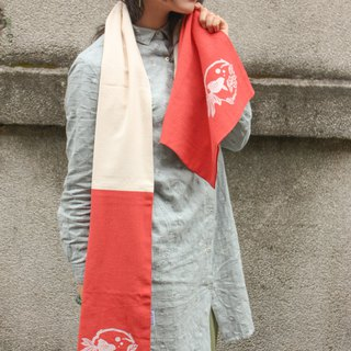 [Red Bull chubby] feel cotton-linen scarf series