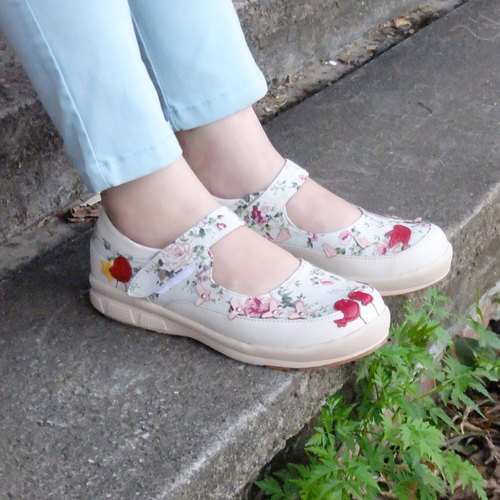 【Floral Garden】Ultra Light/ Exquisite Hand Sewing/ Leather Cushion/Mary Jane Shoes