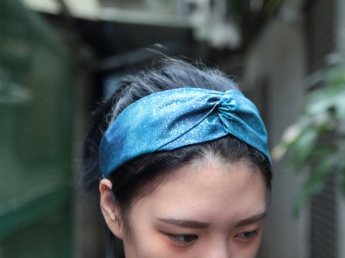 Van Gogh's starry / sea blue cloth gilt point / manual cross elastic headband