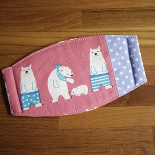 Hand-made custom = daily essential small hand-made masks were = = = powder pink polar bear family