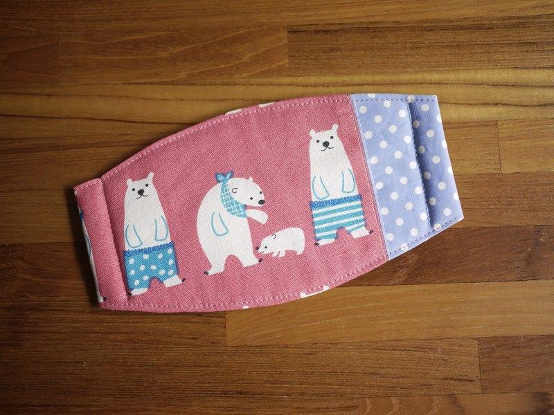 手作訂製=日常必備小物=手作口罩=北極熊家族=粉桃紅