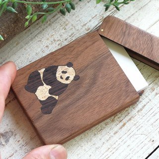 Wooden business card holder / Panda / walnut
