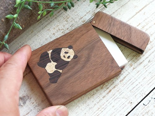 Wooden business card holder / Panda/ walnut