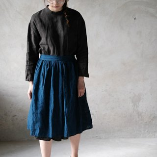Indigo blue plant dyed pure linen styling skirt two-color retro blue dyed pleated half-length home apron