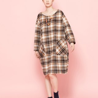 chaton wool plaid long shirt 122F397