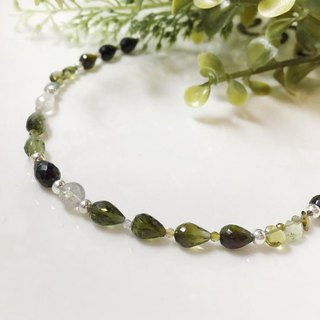 MH sterling silver natural stone independent section _ forest prayer _ tourmaline