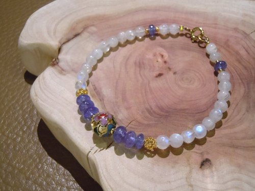 Summer thread | natural Moonstone Silver Tanzanite original designs sold exclusively beaded bracelet | Salina Ma