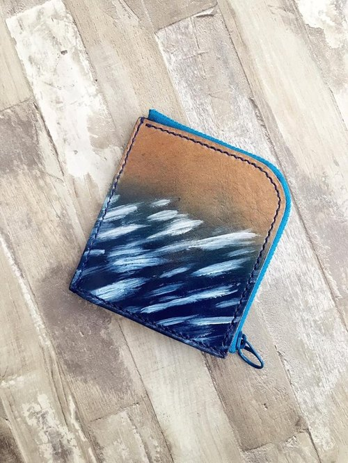 A type of L-type purse - leather brush calligraphy blue