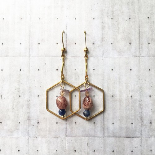 """Wannabe"" series brass natural stone geometric earrings temperament models [original text Green Ear / ear clip]"
