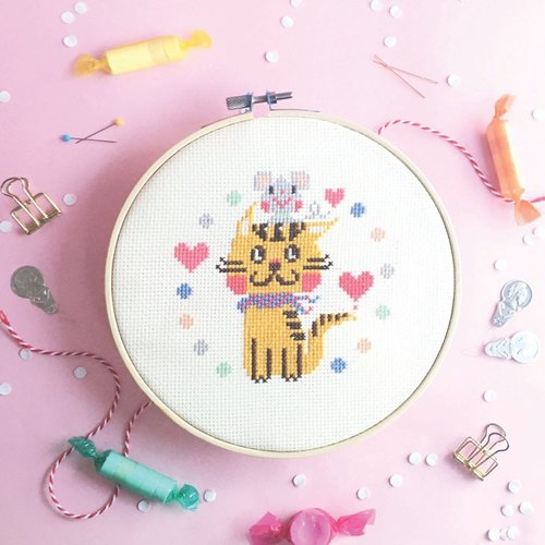 Cross Stitch KIT - Best Friends Cat and Mice