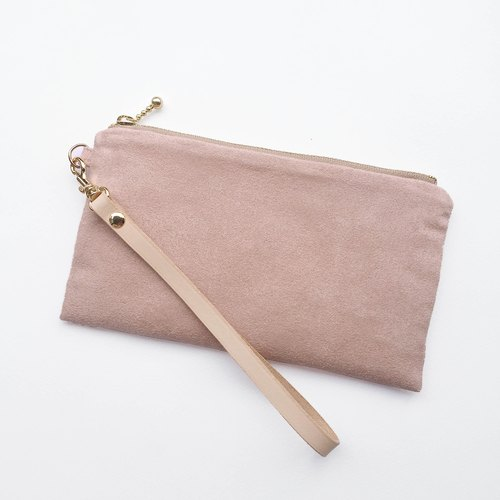 Pale powder - Suede carry bag leather belt cosmetic bag phone bag