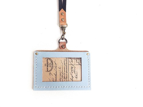 POPO│ │ light blue leather ID holder. Horizontal │leather