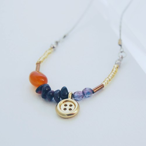 Little button|Cornelian / Carchedonia Mix & Match Crystal Gemstone Necklace