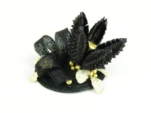 SALE! Fascinator Headpiece with Star Shaped Flower, Feathery Gold Foliage and Beads, Statement Cocktail Party Hat, Occasion Fashion Headwear