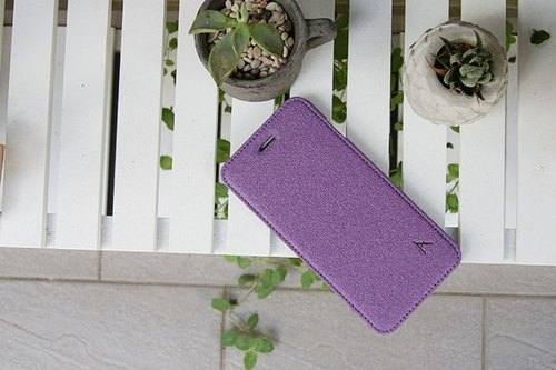 Optima iPhone 7/8 Plus side lift stand stand leather linen series grape violet