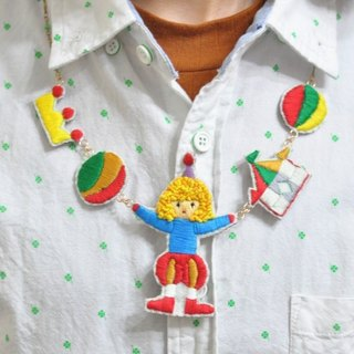 magichand embroidery circus clown necklace