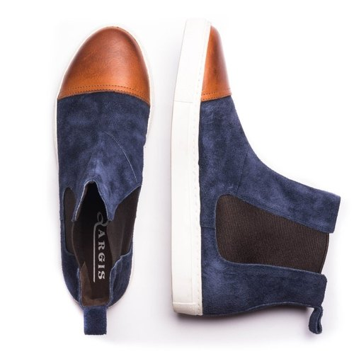 ARGIS Japanese suede non-slip casual toddler boots-22134 Navy [Japanese handmade leather shoes]