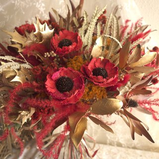 Wedding floral series ~ Vintage gold red bouquet