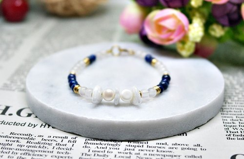Natural stone bracelet _ x brass button transparent blue chalcedony heart ➪ Limited X1 # #