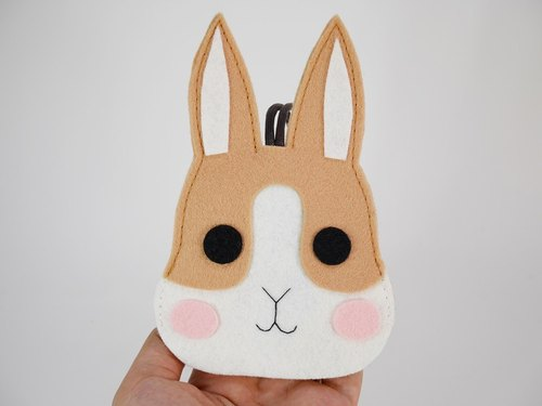 Cute animal key bag - khaki rabbit