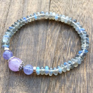 High quality bright blue translucent feldspar bracelet