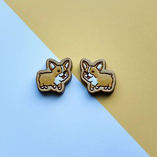 Painted wood earrings-Welsh Corgi
