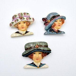 Antique lady imitation ceramic pin heart needle brooch retro retro orphan