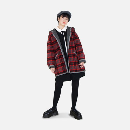 A‧PRANK: DOLLY :: VINTAGE retro with red plaid gray wool hooded coat jacket