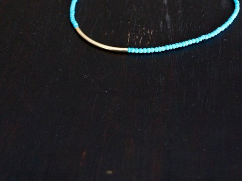 Turquoise and 14kgf bar necklace