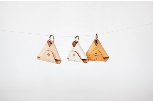 F2studio Valentine's Day Handmade Leather Keychain Vegetable Tanning Coin Kit Genuine Leather Coin Purse Mini Triangle Bag