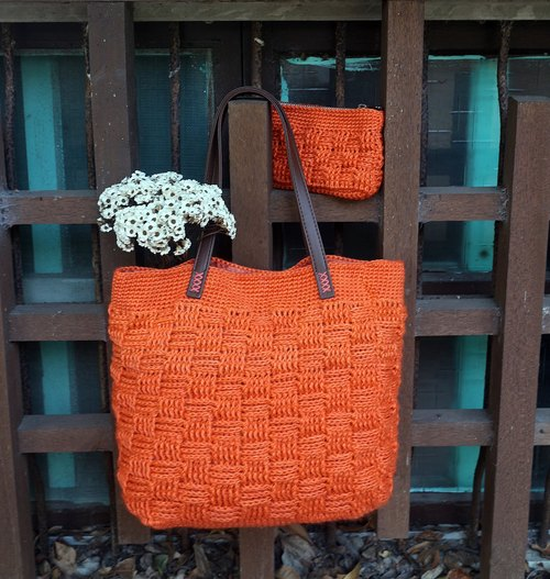 Handmade - lattice pattern hand bag + wallet - autumn flag orange - warm hand knitting natural ramie woven bag
