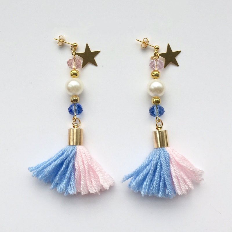 Ear clip-on can be changed! Brass powder blue tassel ❤️ ❤️ Star Star diamond crystal beaded pearl earrings ❤️