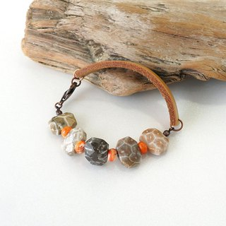 Natural Coral Stone and Genuine Leather Combination Bracelet