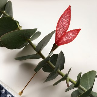 French handmade nylon bud brooch _ bright red