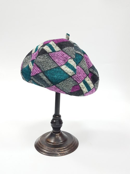 70's pumpkin hat - purple grid # # X'mas Christmas wool hair